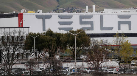 Tesla Inc's factory in Fremont, California, in a March 18, 2020 file photo.