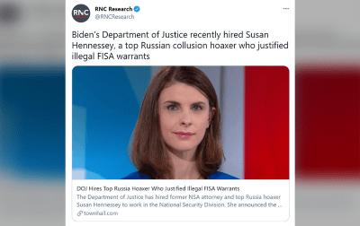 رشیا گیٹ سازشی نظریے کو پروان چڑھانے والی وکیل خاتون کو صدر بائیڈن نے مشیر بنا لیا