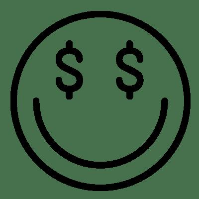 Vue d'un visage souriant avec des dollars à la place des yeux