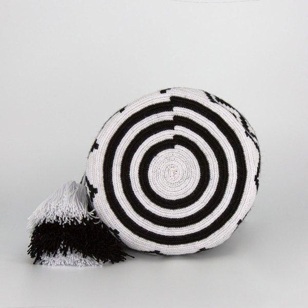 Olas Small Crossbody Bucket Bag in Black / White Aaluna Collections bucket bag