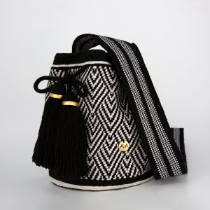 Escama Medium Bucket Bag in Black / White Aaluna Collections