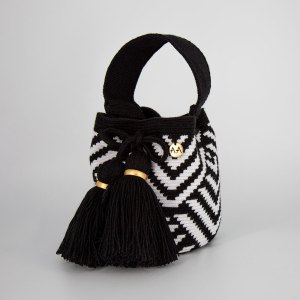 Escama Handcarry Bucket Bag Purse in Black / White Aaluna Collections bucket bag