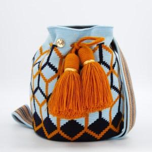 コルメナ ミディアムバッグ スカイブルー / ネイビー / マスタード クロスボディハンドバッグ bucket bag
