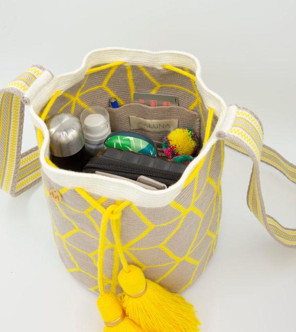 Flor Medium Bucket in Lemon/Linen/Off white Aaluna Collections bucket bag