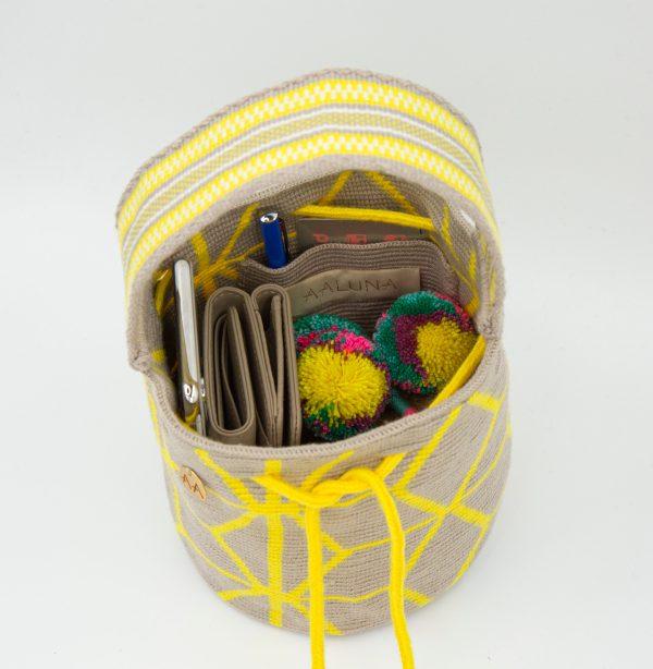 Flor Handcarry Bucket Bag in Lemon/Linen/Off White Aaluna Collections bucket bag