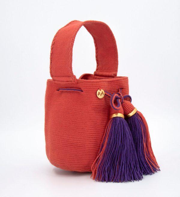 Jalianaya Handcarry Colorblock Bucket Bag in Coral/Purple Aaluna Collections bucket bag