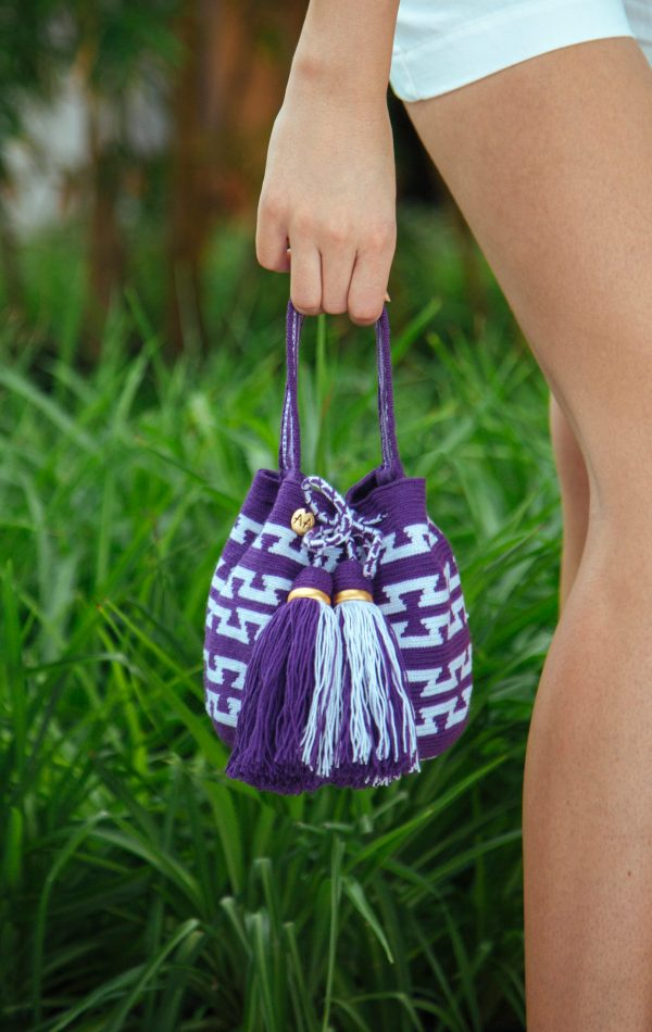 Jalianaya Handcarry Bucket Bag in Purple/White Aaluna Collections bucket bag