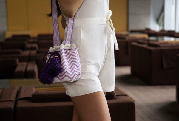 オラス スモールバケット ホワイト / ラベンダー オラス bucket bag