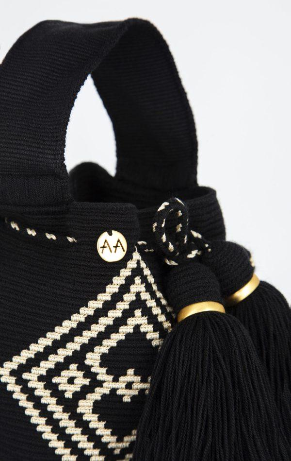 Rumba Handcarry Bucket Bag in Black/Gold Aaluna Collections bucket bag