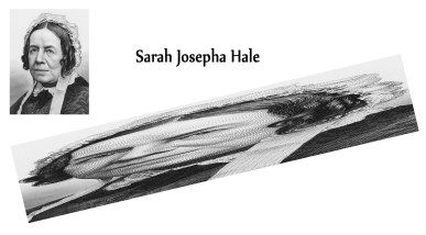 Sarah Josepha Hale portrait as possible anamorphic image for the Marine Instrument Sculpture