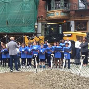 St. John's school choir sig at the groundbreaking.