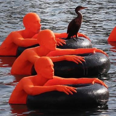 SOS (Safety Orange Swimmers) (photo: David L. Ryan, The Boston Globe)