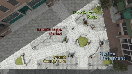 North Square Public Art plan rendering, labelled