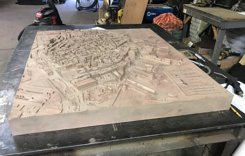 North End Story Map bronze cast