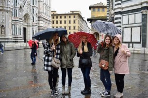 Posted up outside the Duomo