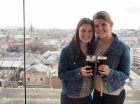 Enjoying a Guinness in the galaxy bar