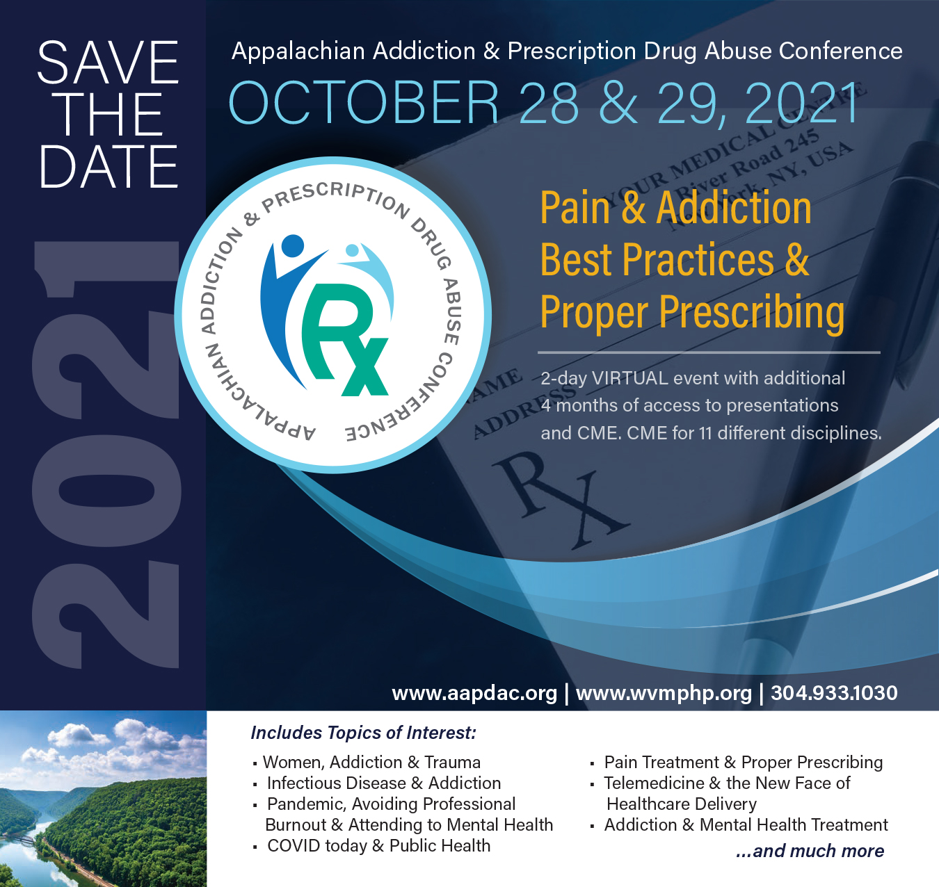 SAVE THE DATE: Appalachian Addiction and Prescription Drug Abuse Conference / October 28-29, 2021