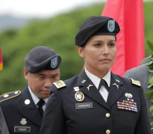 U.S. Rep. Tulsi Gabbard (HI-2) is promoted in rank by the Hawaiʻi Army National Guard from Captain to Major in an Oct, 12, 2015 ceremony at the National Memorial Cemetery of the Pacific (Punchbowl).