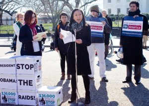 SEARAC Executive Director Quyen Dinh speaking in front of the White House.
