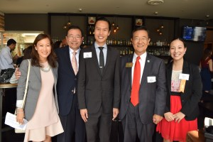 Gloria Lee (co-chair of Advancing Justice Orange County Executive Advisory Council), Stewart Kwoh (executive director of Advancing Justice-LA), Hon. Bao Nguyen, Steven S. Choi (mayor of Irvine), and Sylvia Kim (regional director, Advancing Justice-OC) at the VIP Reception on May 12.