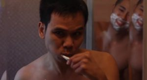"Sinakhone Keodara, left and Bryan Espino in a scene from ""Where Our World's Meet."""