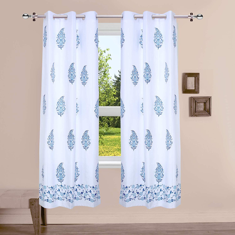 linenwalas 100 cotton hand block textile art door curtain set 7ft set of 2 pcs cobalt powder blue