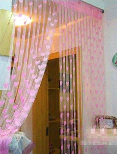ramcha heart 2 piece polyester string door curtain set 6 5ft pink