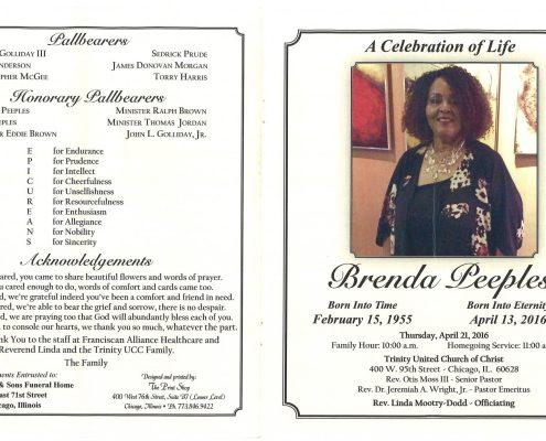 Obituary of Brenda Peeples Funeral Service