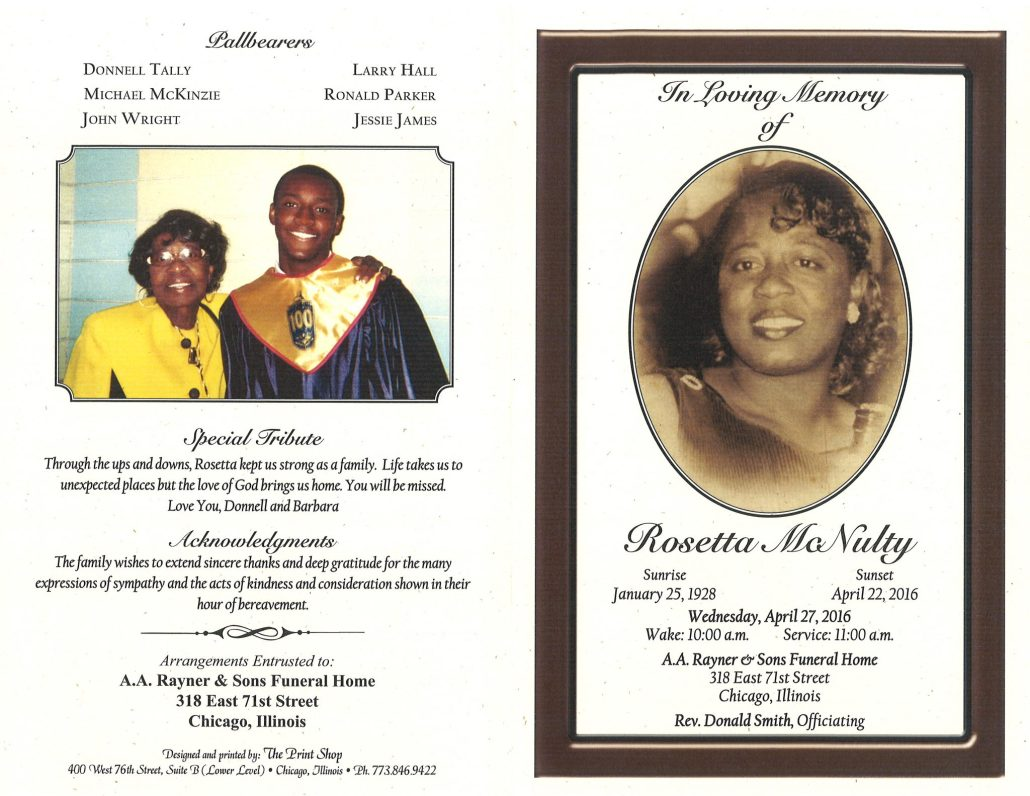 Obituary of Rosetta McNulty funeral service at AA Rayner and sons