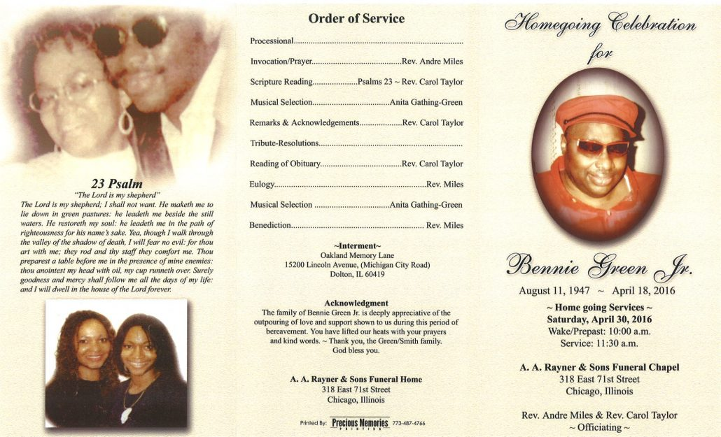 Photo of Bennie Green Jr Obituary Funeral at aa rayner and sons funeral home