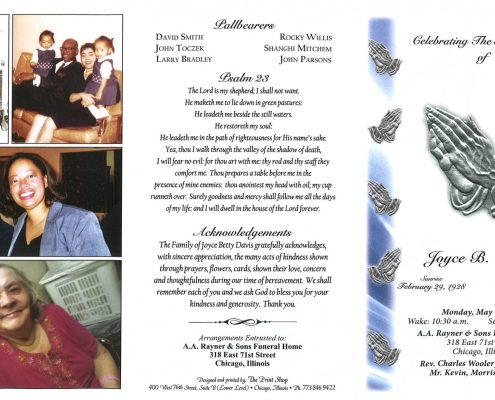 Joyce B Davis obituary from funeral service at aa rayner and sons funeral home in chicago illinois