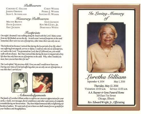 Loretha Gilliam obituary from funeral service at aa rayner and sons funeral home in chicago illinois
