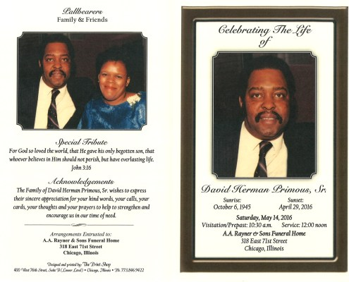 David Herman Primous Sr obituary from funeral service at aa rayner and sons funeral home in chicago illinois