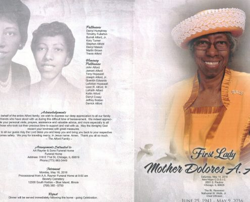 Dolores A Alford obituary obituary from funeral service at aa rayner and sons funeral home in chicago illinois