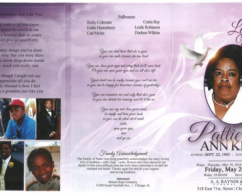 Pattie Ann King obituary from funeral service at aa rayner and sons funeral home in chicago illinois