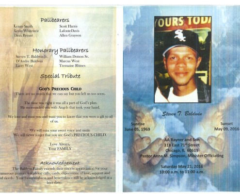 Steven Baldwin Obituary obituary from funeral service at aa rayner and sons funeral home in chicago illinois