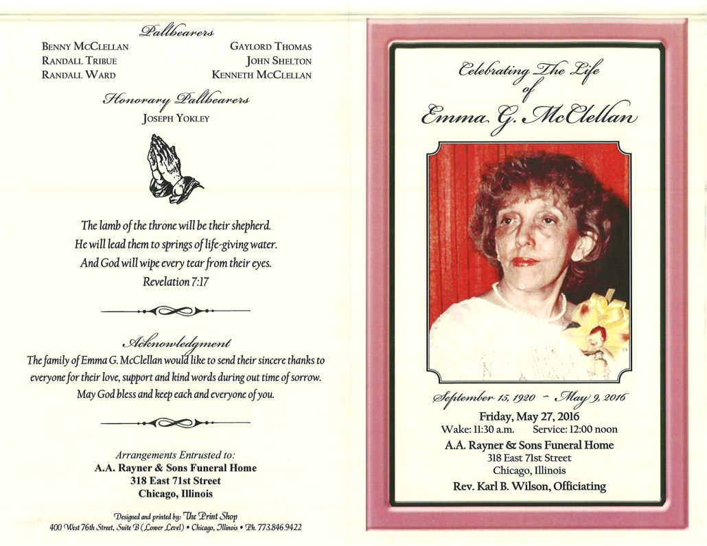 Emma G McClellan Obituary from funeral service at aa rayner and sons funeral home in chicago illinois