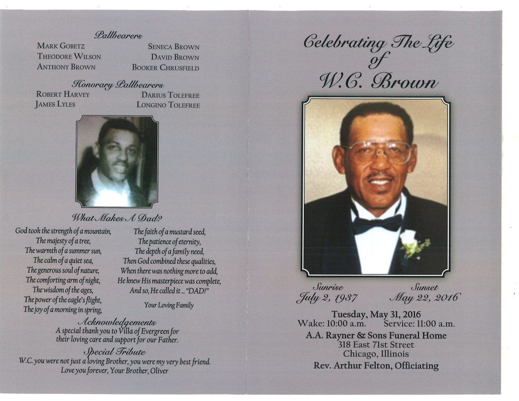 W.C. Brown Obituary from funeral service at aa rayner and sons funeral home in chicago illinois