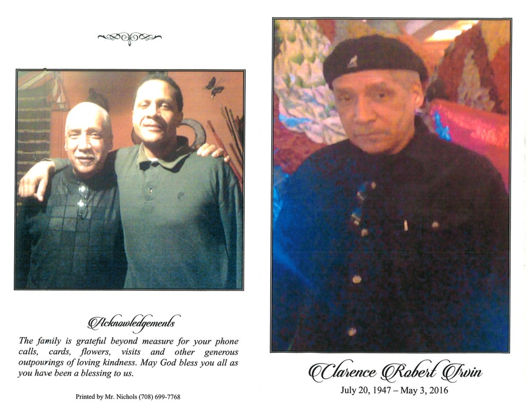 Calarence Robert Irvin Obituary from funeral service at aa rayner and sons funeral home in chicago illinois