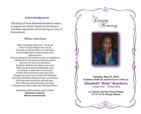 Elizabeth Betty Roseboro Obituary from funeral service at aa rayner and sons funeral home in chicago illinois