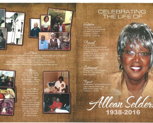 Allean Selders Obituary from funeral service at aa rayner and sons funeral home in chicago illinois