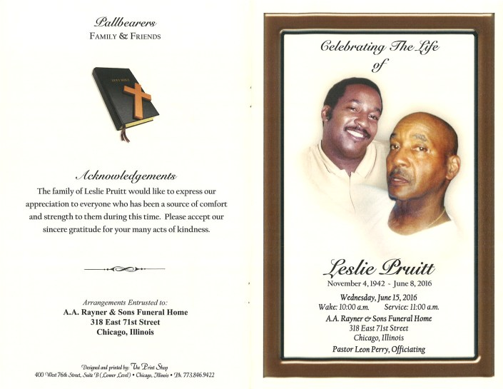 Leslie Pruitt Obituary from funeral service at aa rayner and sons funeral home in chicago illinois