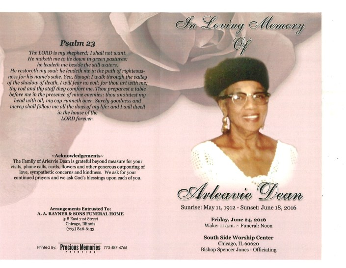 Arleavie Dean Obituary from funeral service at aa rayner and sons funeral home in chicago illinois