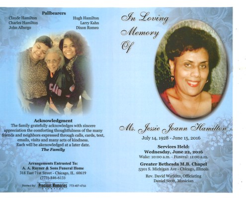 Jessie Joann Hamilton Obituary from funeral service at aa rayner and sons funeral home in chicago