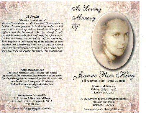 Jeanne Ross King Obituary from funeral service at aa rayner and sons funeral home in chicago illinois