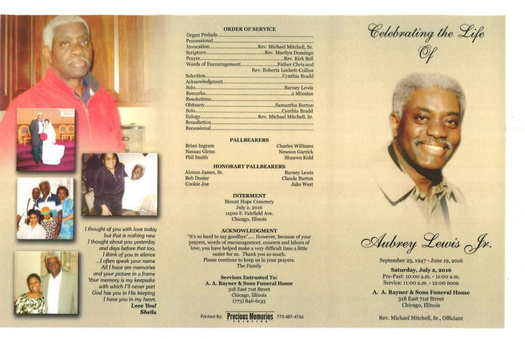Aubrey Lewis Jr Obituary from funeral service at aa rayner and sons funeral home in chicago illinois