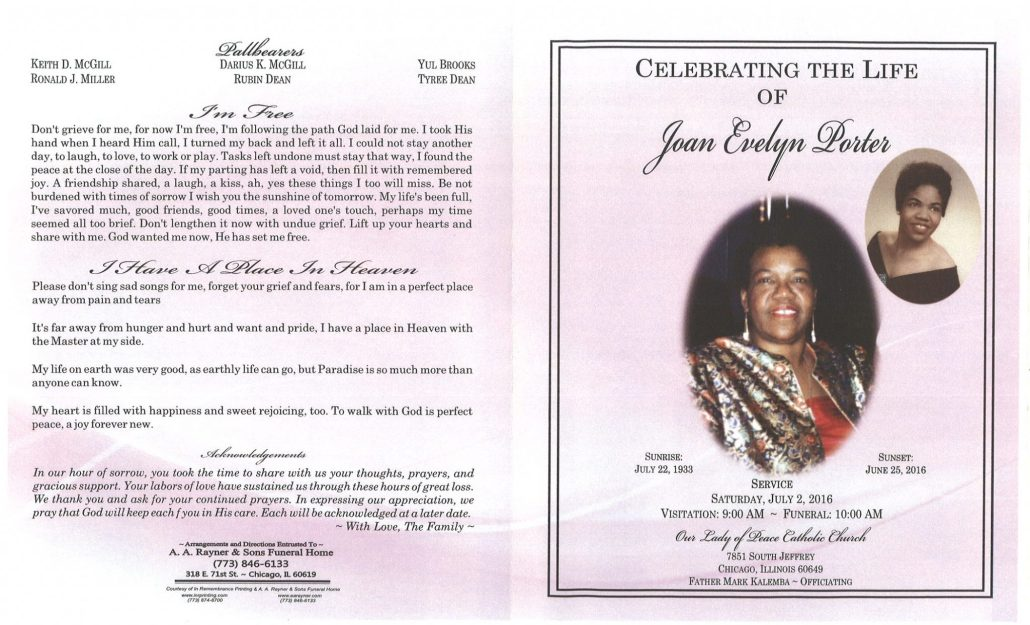 Joan Evelyn Porter Obituary from funeral service at aa rayner and sons funeral home in chicago illinois