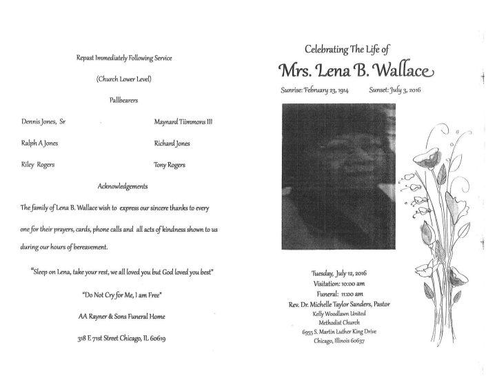 Mrs Lena B Wallace Obituary