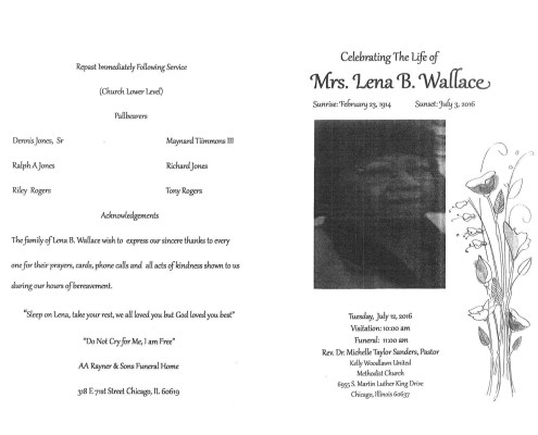 Mrs Lena B Wallace Obituary