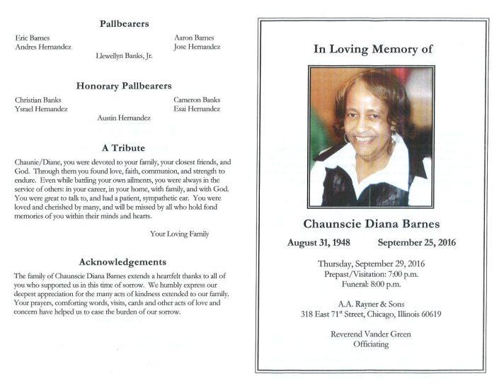 Chaunscie Diana Barnes Obituary